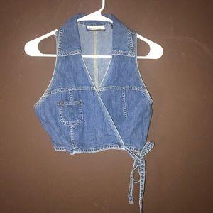 Express Bleus cropped denim wrap vest S
